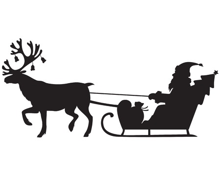 sleds: Silhouette image of Santa Claus riding a sleigh with reindeer