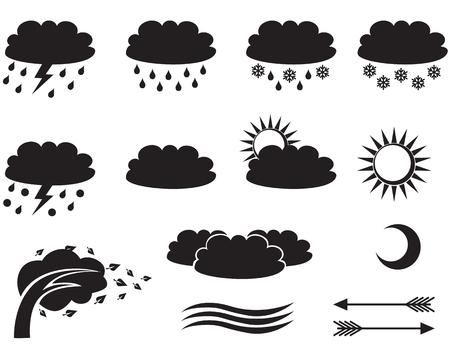 weather symbols: Set of silhouette weather symbols Illustration