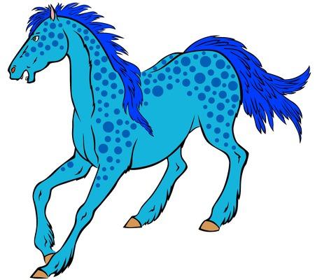 dappled: Cute cartoon blue dappled horse symbol 2014