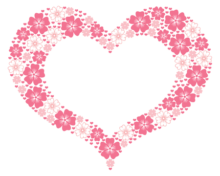 Valentine floral frame in the form heart Vector