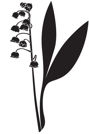 lily of the valley: Silhouette image spring lily of the valley flower Illustration