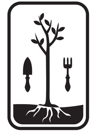 Icon with the image of image of a tree, rooted in the ground, shovel and ripper