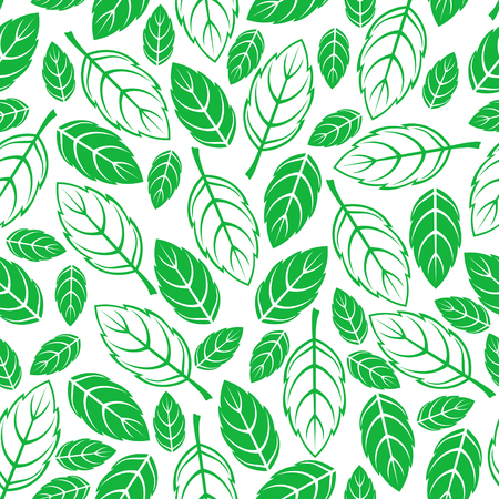 Springs seamless pattern with green leaves