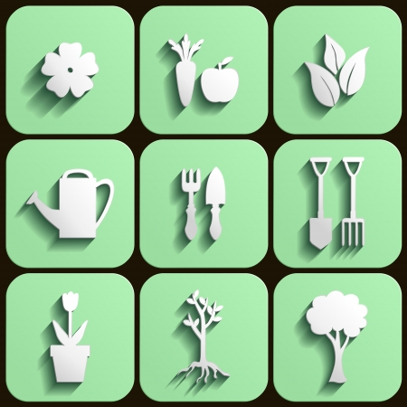 Garden and nature flat icon with flower, leaves, trees, fruits and garden equipment Vector