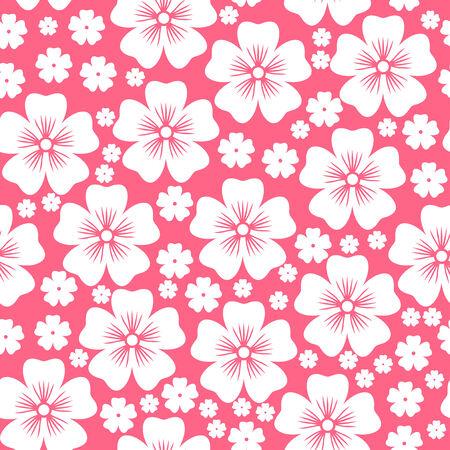 Patrón Sin Fisuras Con Flores Blancas Sobre Fondo De Color Rosa ...
