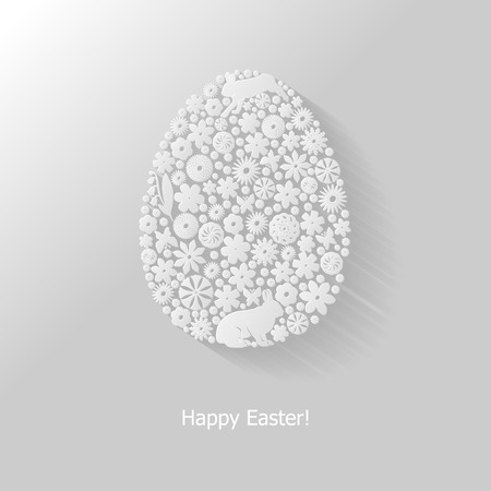 Easter background with decorated flower icon egg
