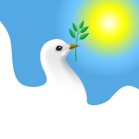 Congratulatory Easter card with dove with branch on sky background Vector
