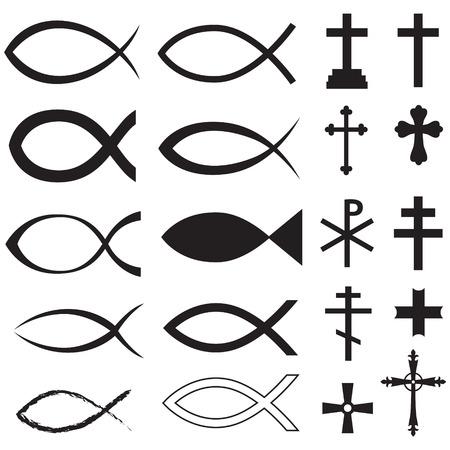 Stel Christelijke vis symbool en verschillende kruisingen