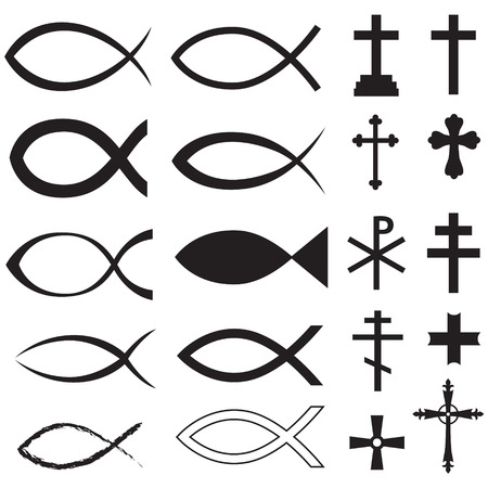 Set Christian fish symbol and different crosses