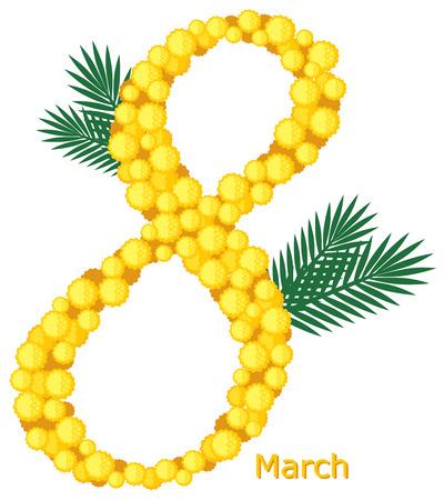 mimose: 8 Marzo biglietto di auguri decorati mimose fiori