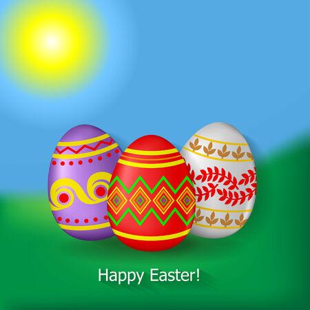 prato e cielo: Auguri di Pasqua con le uova decorative su sfondo erba, cielo e sole