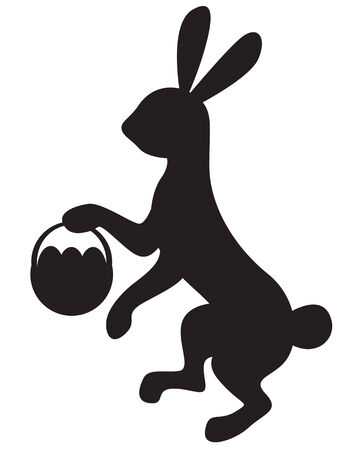 hind: Silhouette image bunny walking on hind legs and carrying a basket with Easter eggs Illustration