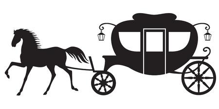 Silhouet paardenkoets Vector Illustratie