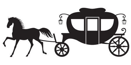 horse drawn: Silhouette image horse drawn carriage