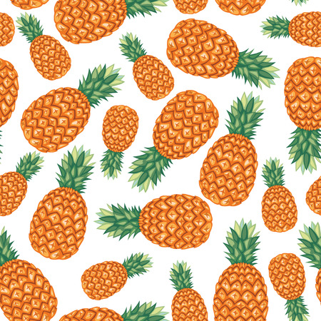 Cartoon seamless pattern with pineapples Vector