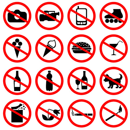 Set of icons with prohibiting different designations Illustration