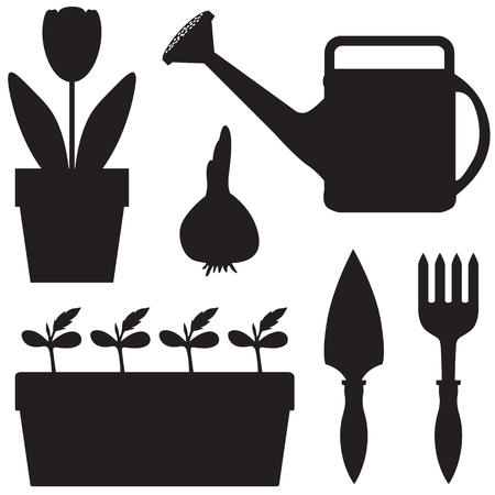watering can: Silhouette images of garden equipment and plants in pots set Illustration
