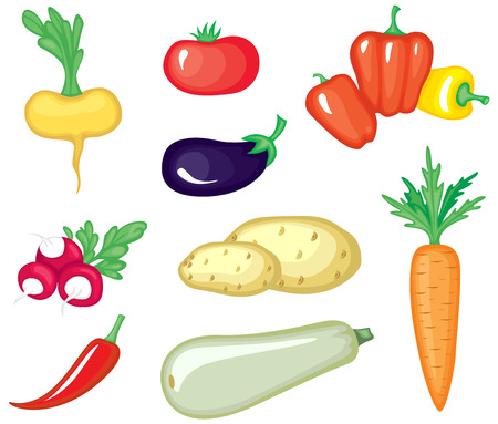 cartoon carrot: Set of cartoon image vegetables