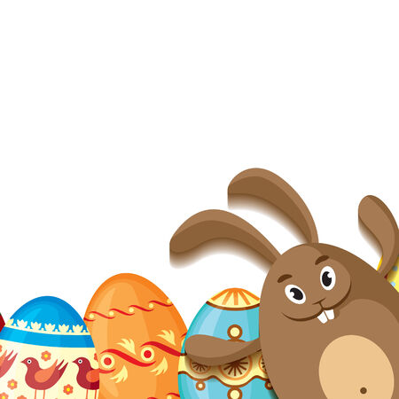 Easter greeting card with cute rabbit and decorative eggs Vector
