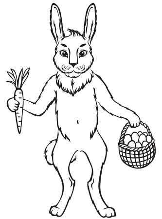 Contour black-and-white images Easter cute bunny with carrot and basket with egg Vector