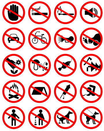 bluster: Set of icons with prohibiting different designations Illustration