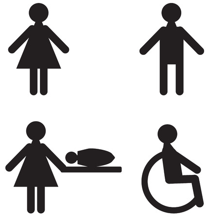 Black-and-white icons set for restroom Vector