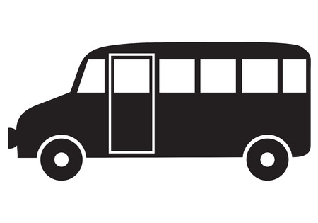 Silhouette black-and-white image of bus Illustration