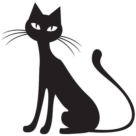 Silhouet zwart-wit beeld van de zwarte kat Stock Illustratie