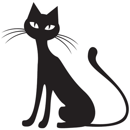 Silhouette black-and-white image of black cat