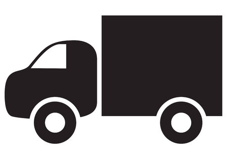 autotruck: Silhouette black-and-white image of autotruck Illustration