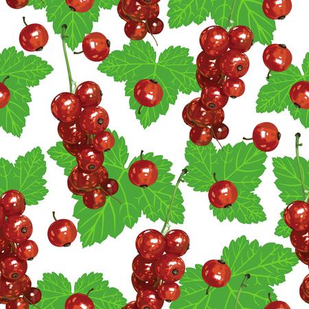 レッドカラント: シームレスなパターンは赤スグリの熟した果実と緑の葉の束します。