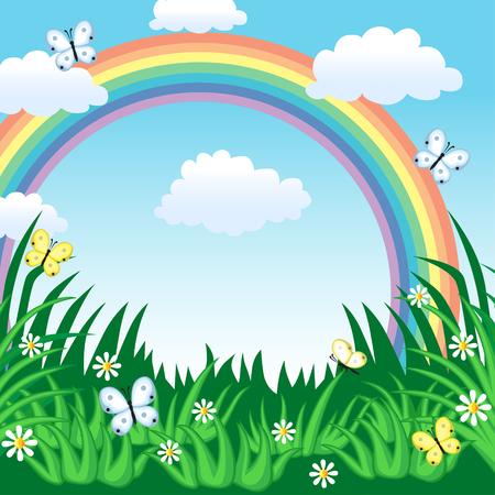 rainbow sky: Summer background with rainbow, grass, sky and butterfly