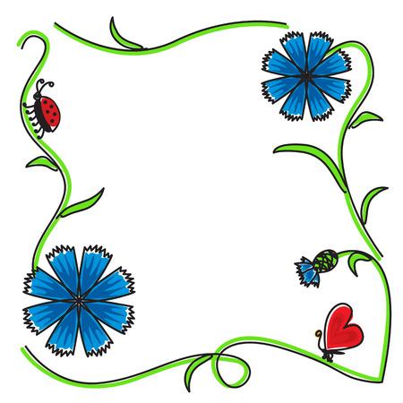 congratulatory: Congratulatory frame of cornflowers flowers and buds