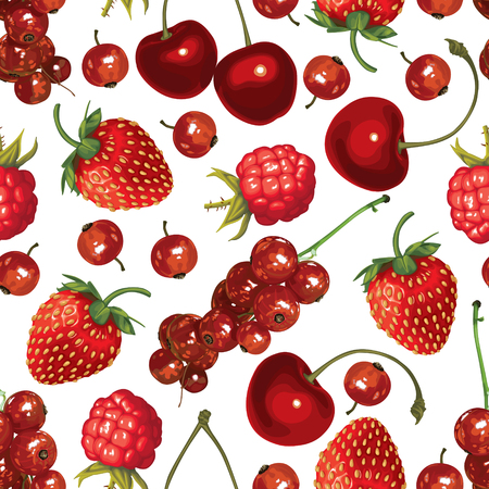 drupe: Seamless pattern of realistic image of delicious ripe red berries Illustration