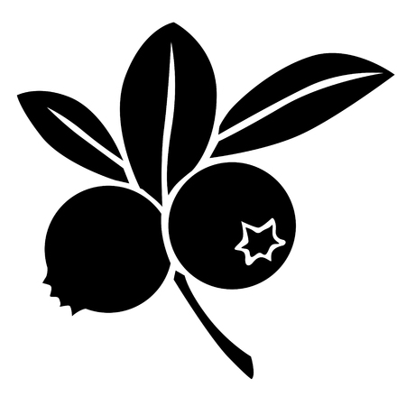 drupe: Silhouette black and white image of blueberry Illustration