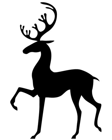Silhouette black-and-white image of deer Illustration
