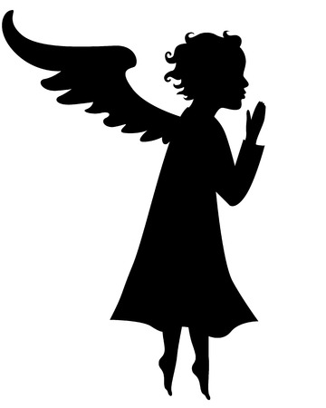 Silhouette of a little angel praying Vector