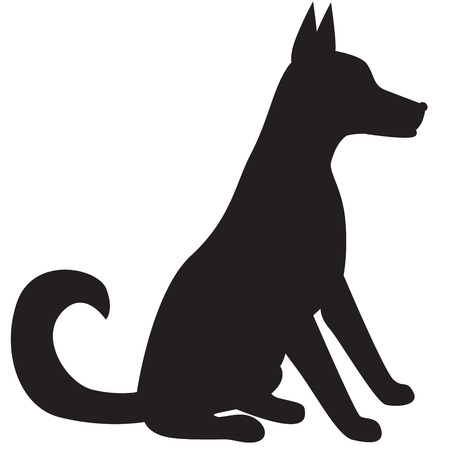 Silhouette image of sitting dog