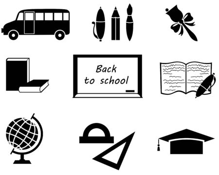 Set of silhouette image for back to school Vector