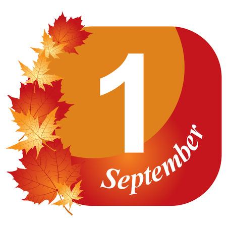 september 1: Congratulatory card September 1 with maple leaves Illustration