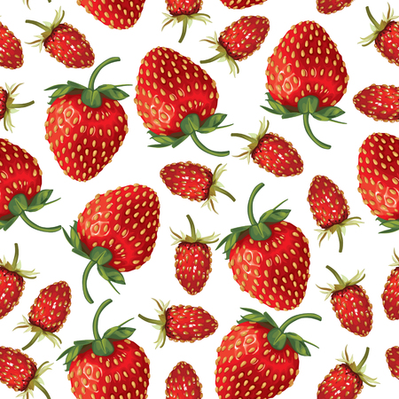 drupe: Seamless pattern of  realistic image of ripe wild strawberries and strawberries