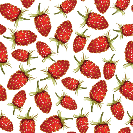 drupe: Seamless pattern of  realistic image of ripe wild strawberries