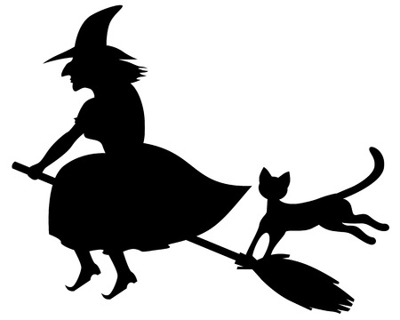 flaying:  Silhouette black-and-white image of scary witch flaying on a broom and a black cat