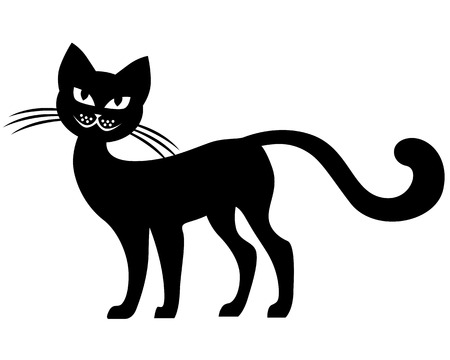 black cat silhouette:  Silhouette black-and-white image of black cat
