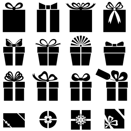 Set silhouette black-and-white image of gift icon Vettoriali