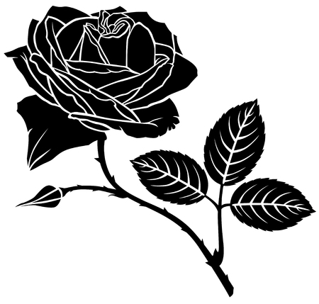 prickles: Silhouette image of rose flower  Illustration