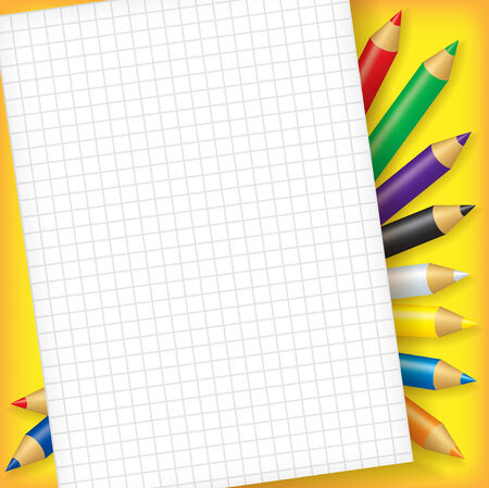 entries: Sheet of paper for entries on multicolor pencils background Illustration