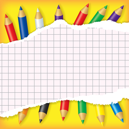 entries: Sheet of torn paper for entries on multicolor pencils background