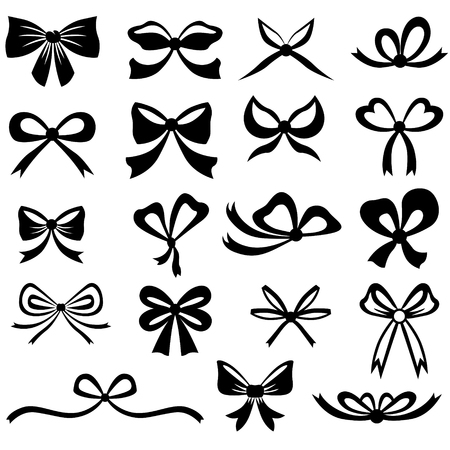 tie: Black and white silhouette image of bow set