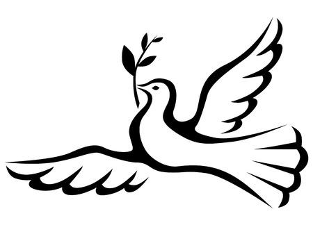 symbole de la paix: Symbole de paix colombe avec une branche de palmier Illustration